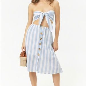 Forever 21 Reverse Striped Bandeau & Skirt Set